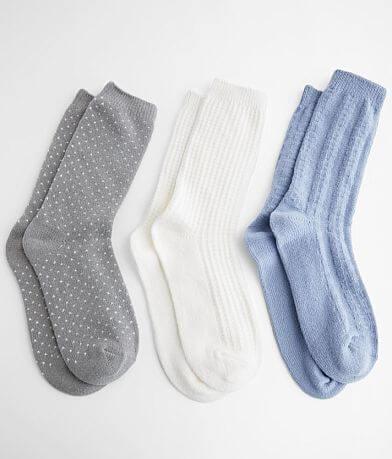 Muk Luks 3 Pack Plush Ribbed Knit Socks