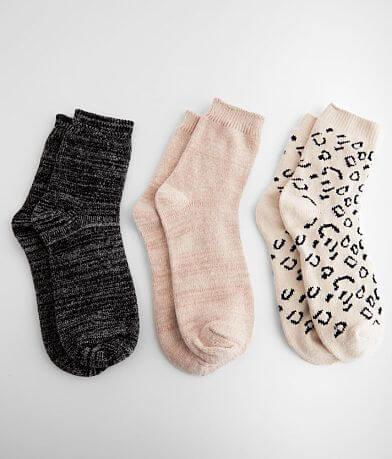 Muk Luks 3 Pack Plush Knit Socks