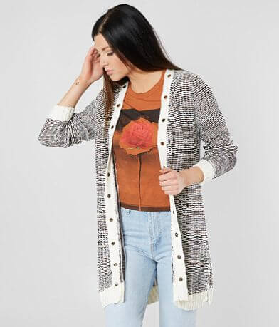 BKE Reverse Weave Cardigan Sweater