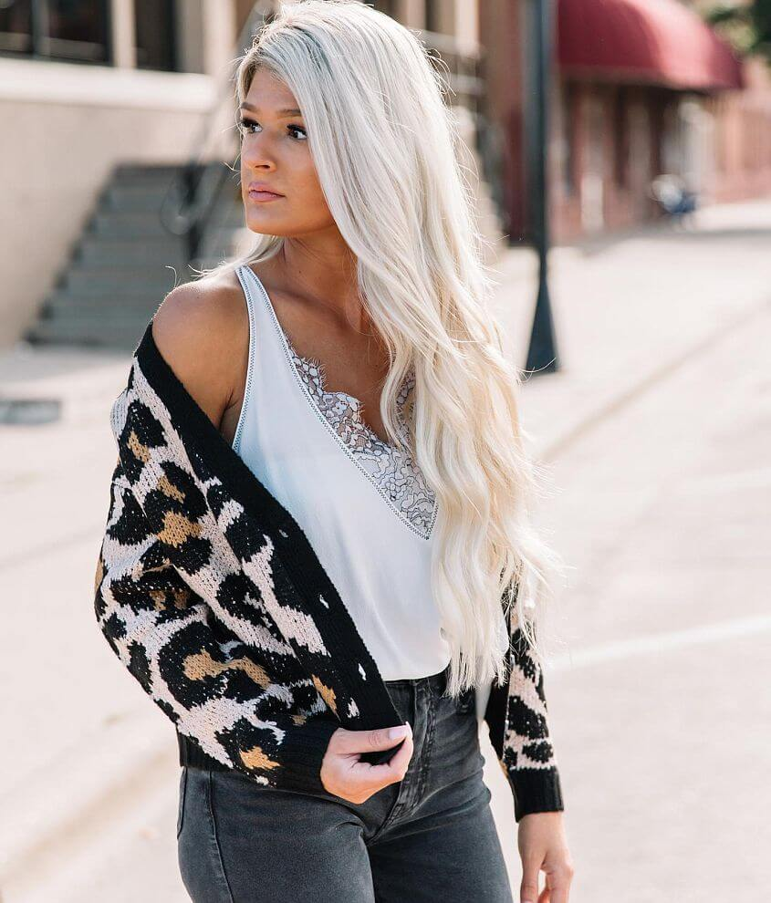 Willow & Root Cheetah Print Cardigan Sweater front view