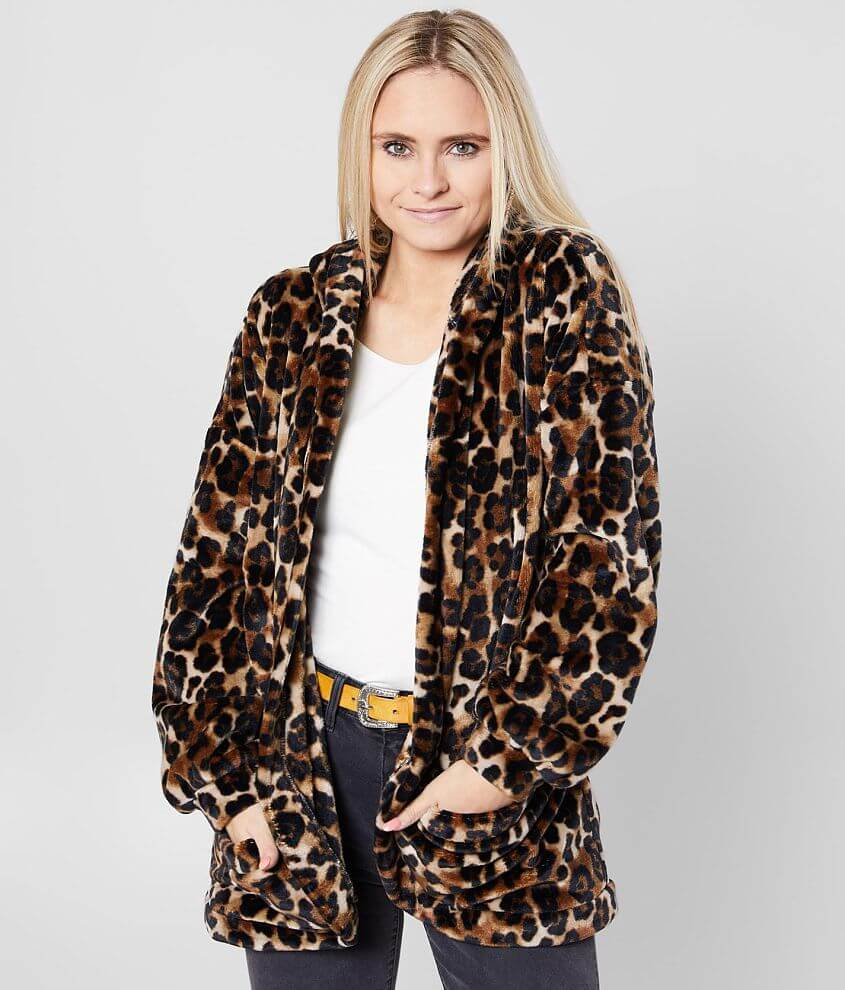 BKE Cozy Cheetah Print Hooded Jacket front view