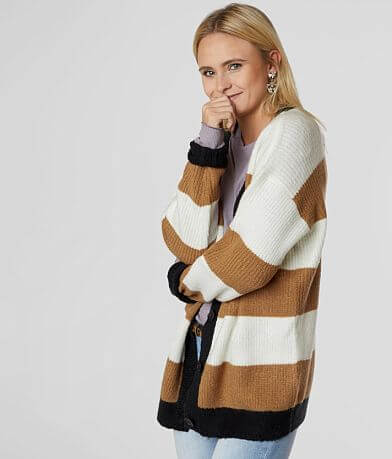 BKE Striped Raw Edge Cardigan Sweater