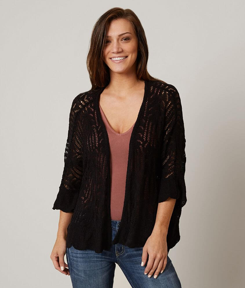 Style IC360A/Sku 602640 Mesh knit trim pointelle cardigan One size fits most Body length 21\\\