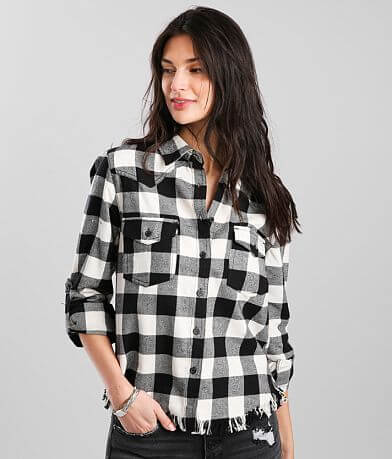 Risen Frayed Hem Western Inspired Flannel Shirt