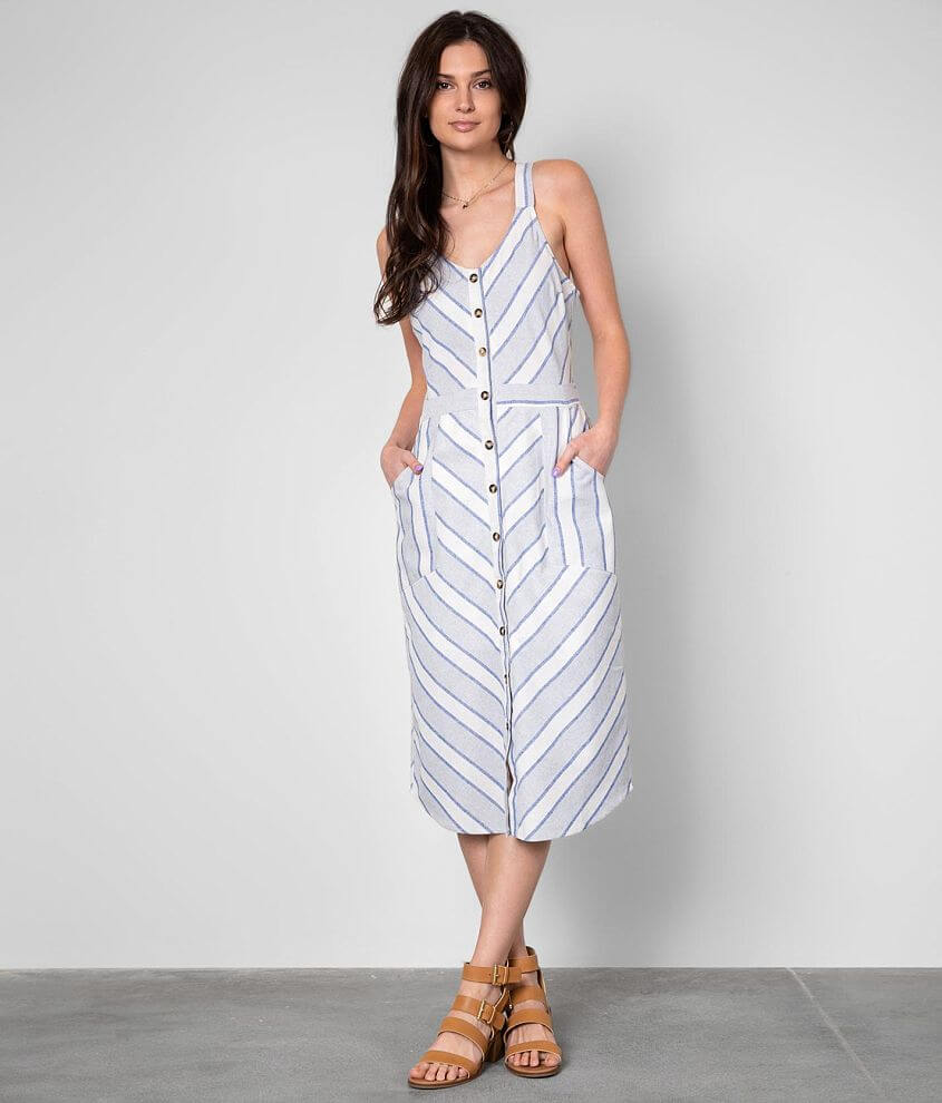 Buckle Black Striped Midi Dress front view
