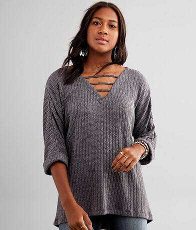 Buckle Black Cable Knit Top