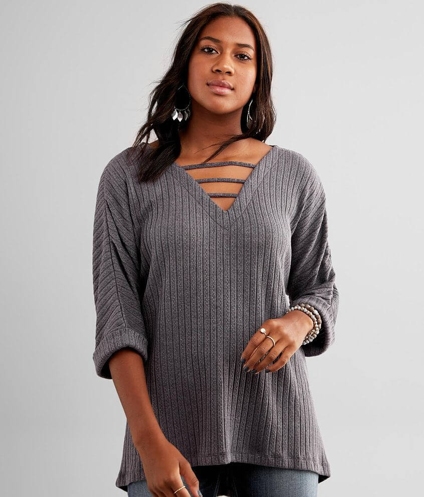 Buckle Black Cable Knit Top front view
