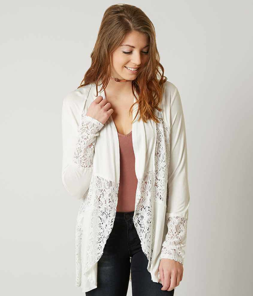 BKE Boutique Pieced Lace Cardigan - Women's Cardigans in Cream ...