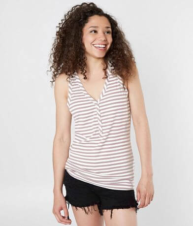 FITZ + EDDI Ribbed Henley Tank Top