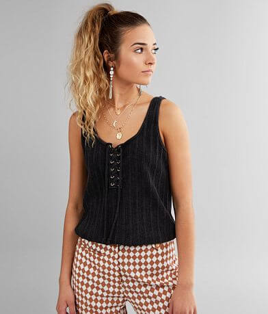 Gilded Intent Washed Lace-Up Tank Top