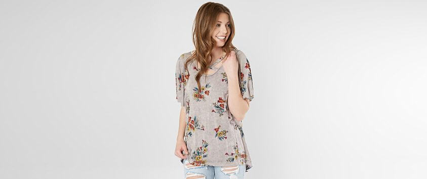 Gimmicks Strappy Floral Top front view