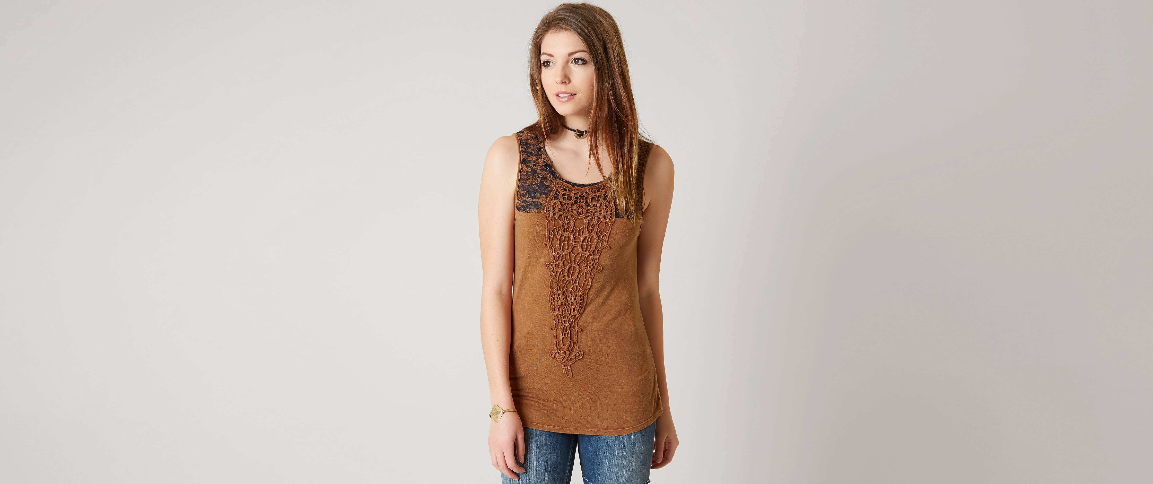 Gimmicks lace applique tank top women s tank tops in tan buckle