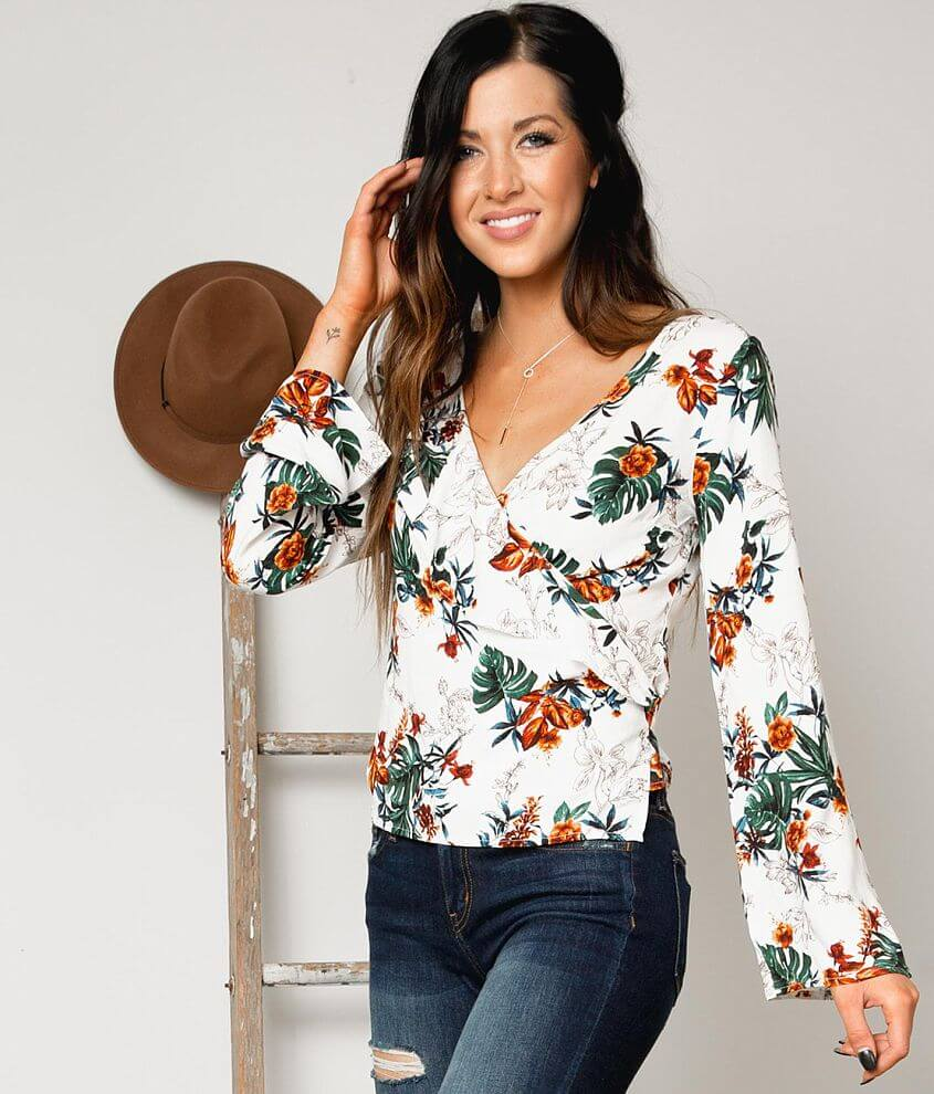 Gimmicks Floral Wrap Top front view