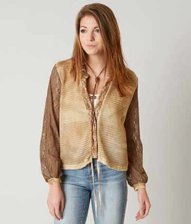 Gimmicks Textured Open Weave Cardigan