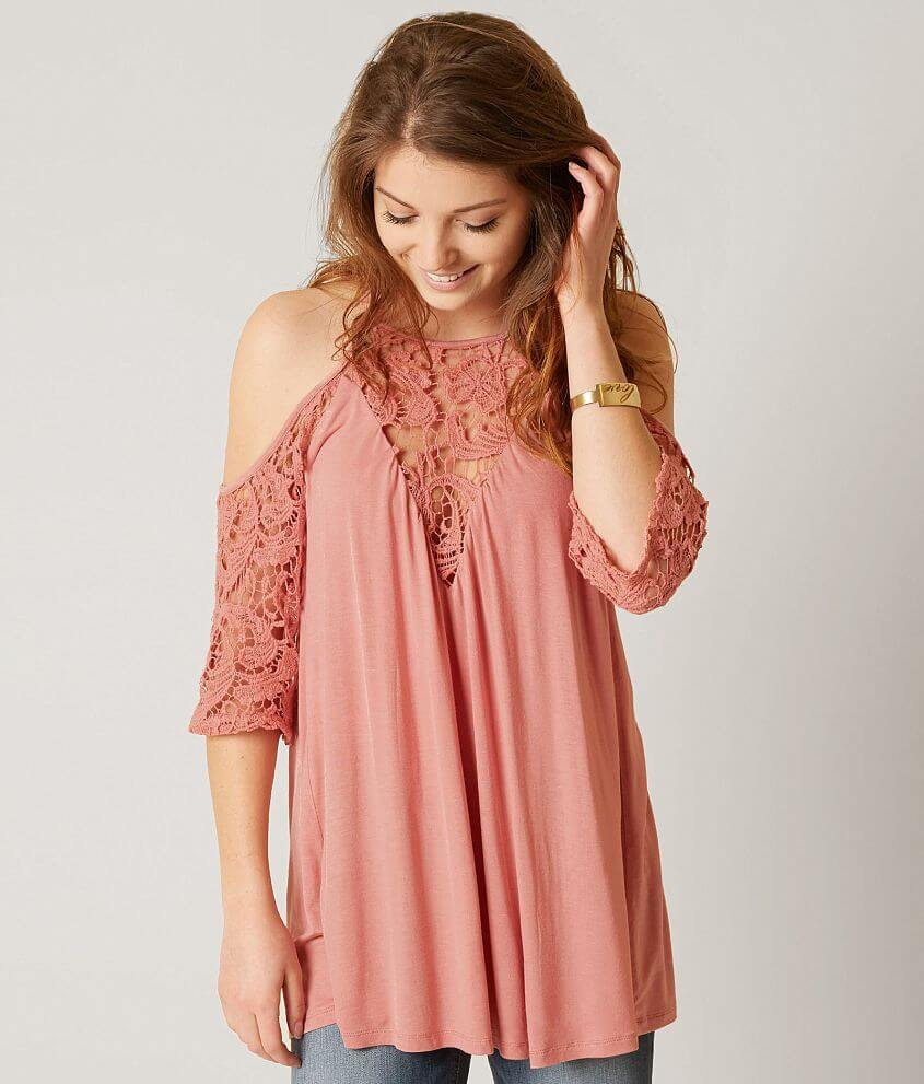 81f0a9647bc617 Gimmicks Cold Shoulder Top - Women s Shirts Blouses in Mauve