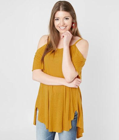Gimmicks Raw Edge Cold Shoulder Top