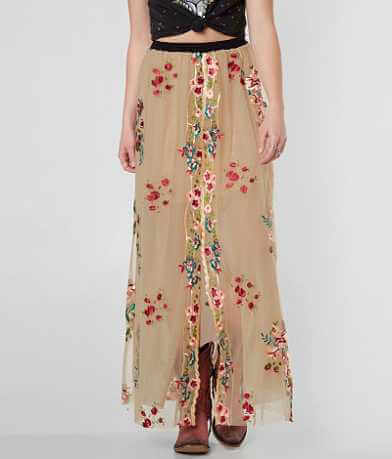 Gimmicks Floral Embroidered Mesh Maxi Skirt