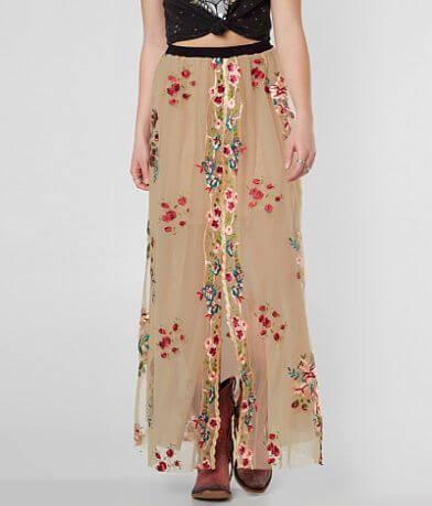 Gimmicks Floral Embroidered Mesh Maxi Skirt