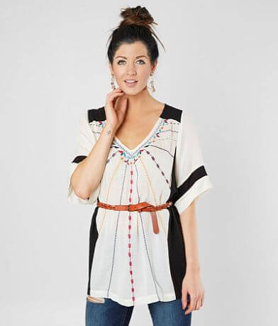 Gimmicks Floral Embroidered Tunic Top