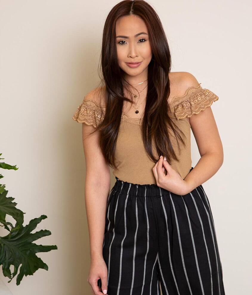 Gimmicks Washed Lace Ruffle Tank Top front view