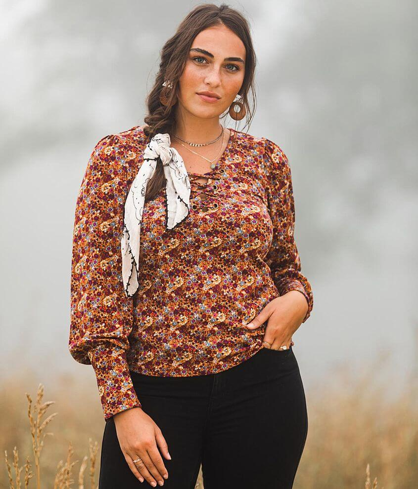 Gimmicks Floral Lace-Up Top front view