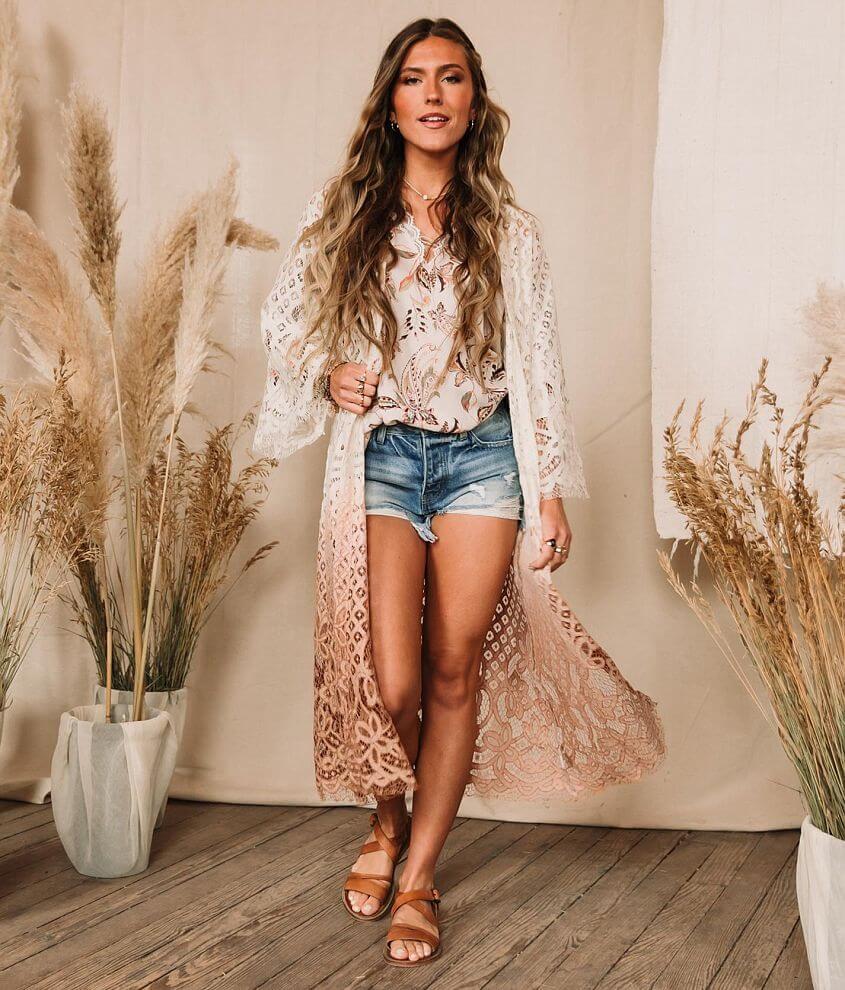 Gimmicks Floral Lace Crochet Kimono front view