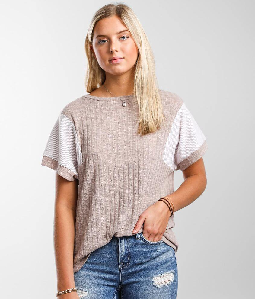 BKE Pointelle Knit Top front view