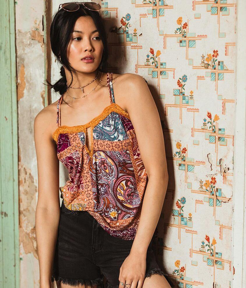 Gimmicks Patchwork Keyhole Tank Top front view