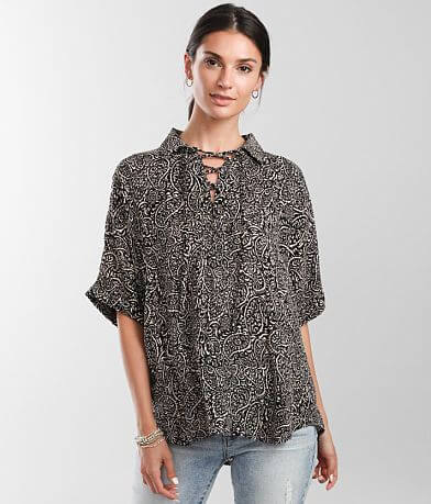Daytrip Collared Lace-Up Top