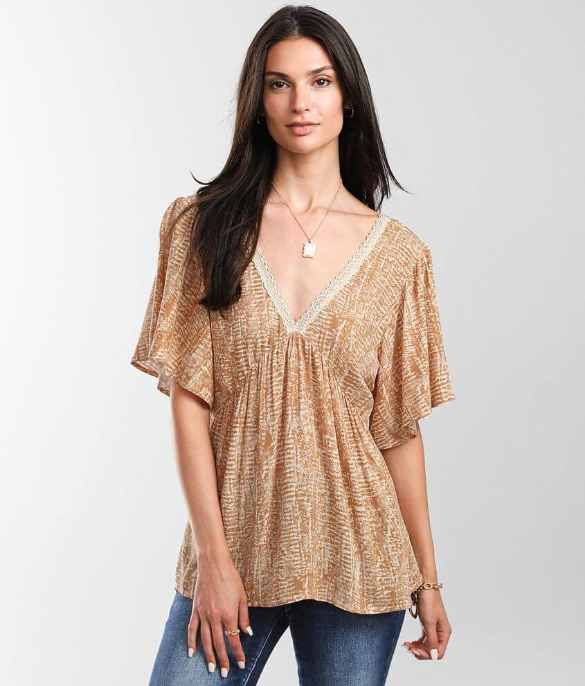 Daytrip Double V-Neck Top front view