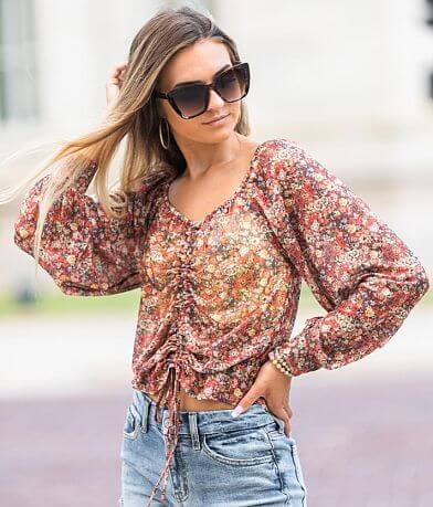 Willow & Root Floral Cinch Tie Mesh Top