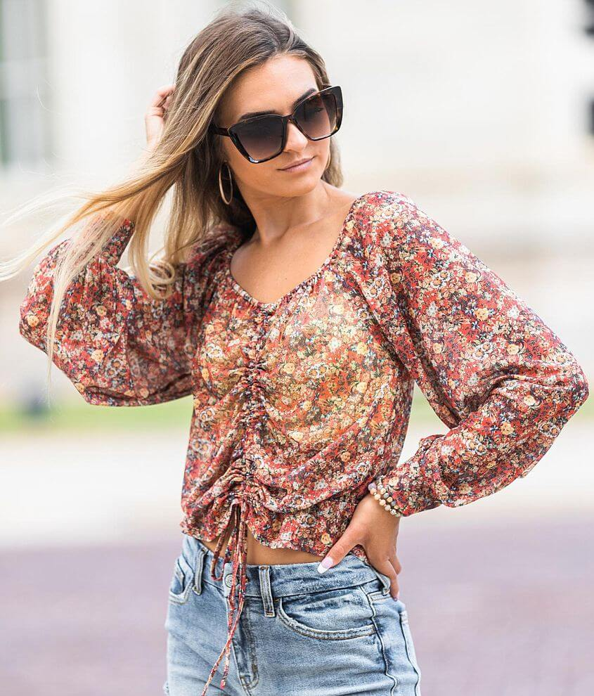 Willow & Root Floral Cinch Tie Mesh Top front view