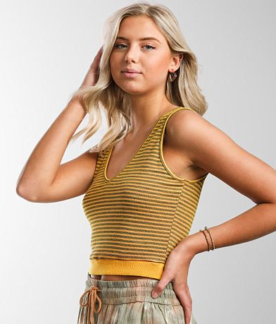 Gilded Intent Striped V-Neck Cropped Tank Top