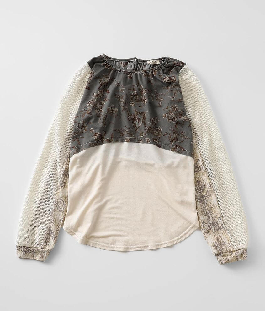 Girls - Gimmicks Pieced Floral Top front view