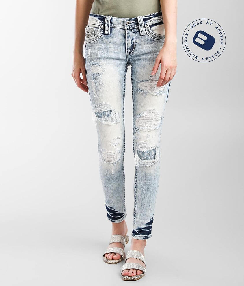Rock Revival Blue Coral Skinny Stretch Jean front view