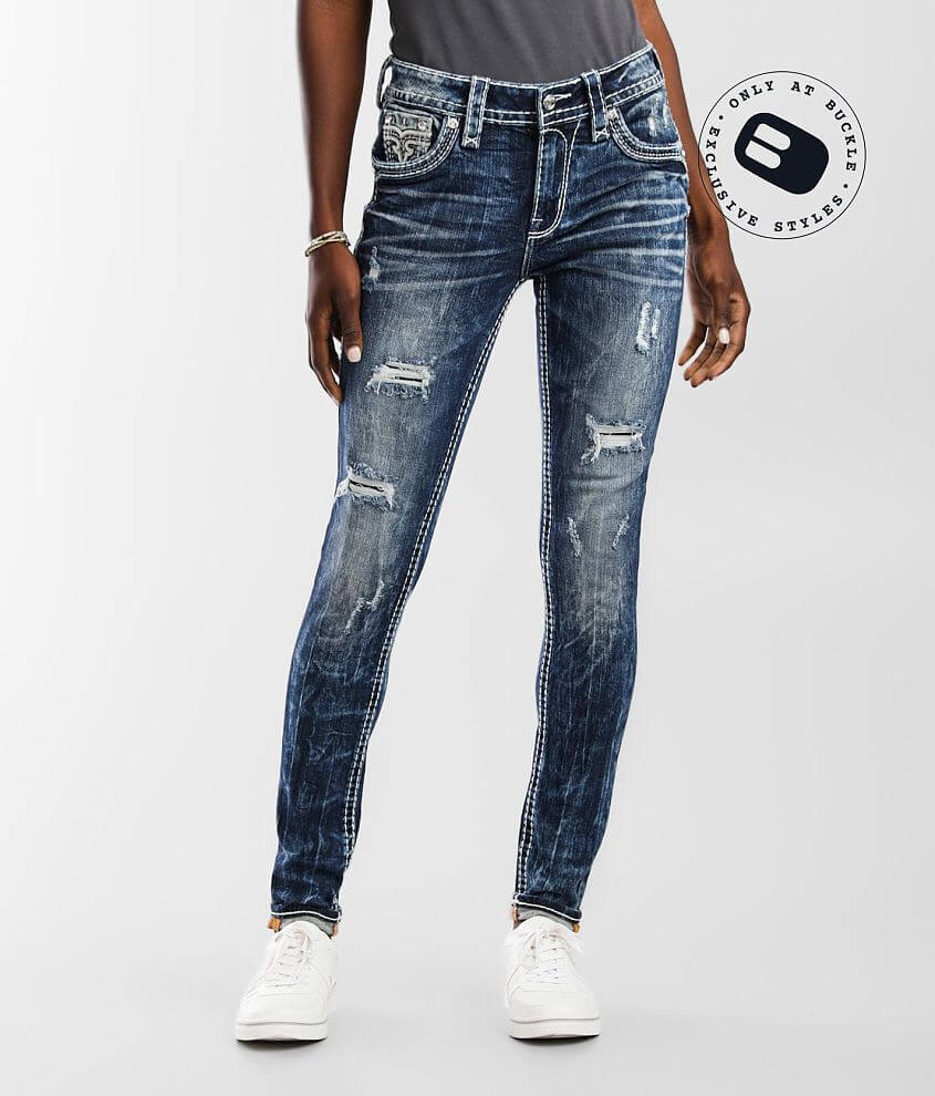 Rock Revival Ivory Mid-Rise Skinny Stretch Jean front view