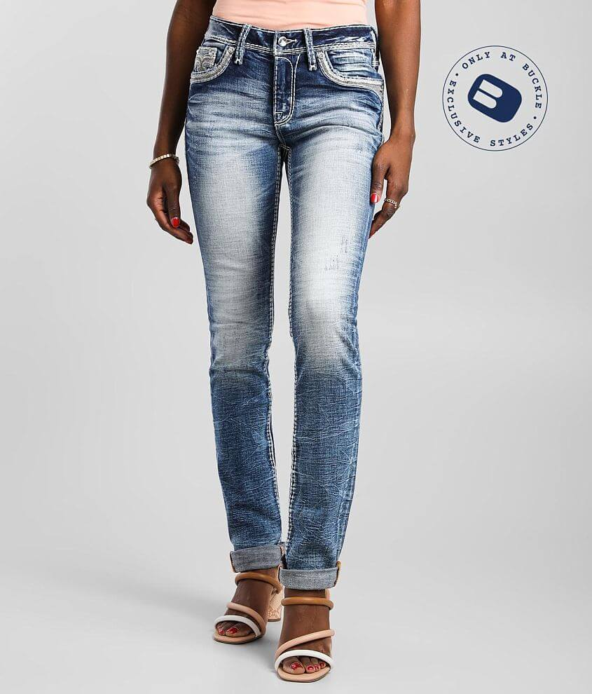 Rock Revival Crimson Mid-Rise Straight Jean front view
