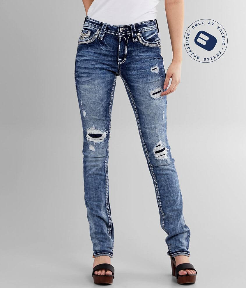 Rock Revival Vitual Pink Mid-Rise Straight Jean front view