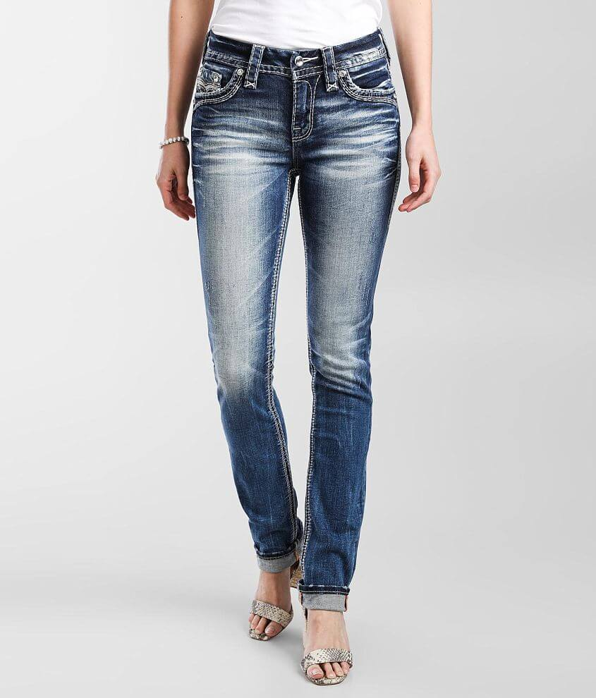 Rock Revival Leni Mid-Rise Straight Stretch Jean front view