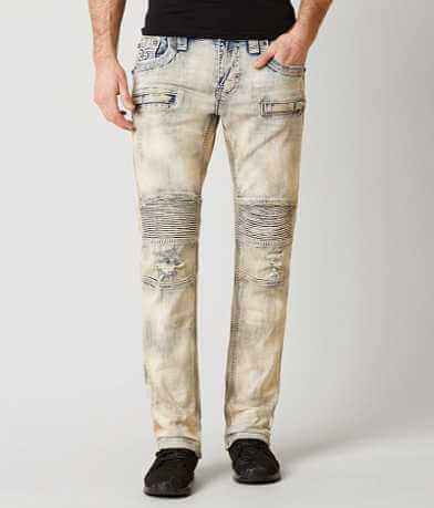 Rock Revival Biker Moto Slim Straight Stretch Jean