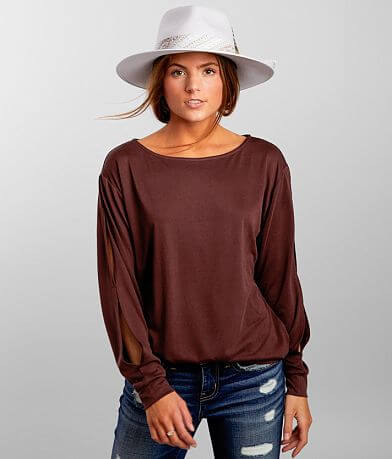 Buckle Black Vented Sleeve Top