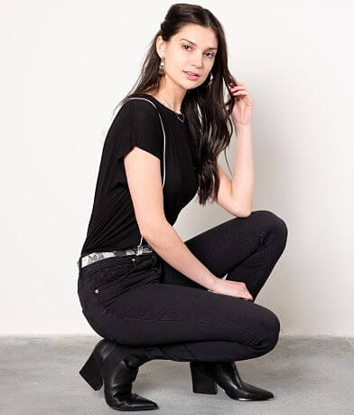 Buckle Black Piped Top