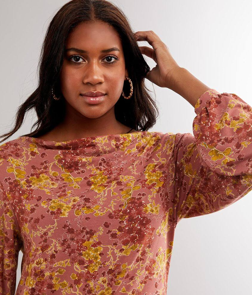 Buckle Black Floral Wide Cowl Neck Top front view