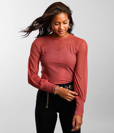 red by BKE Pieced Mesh Top