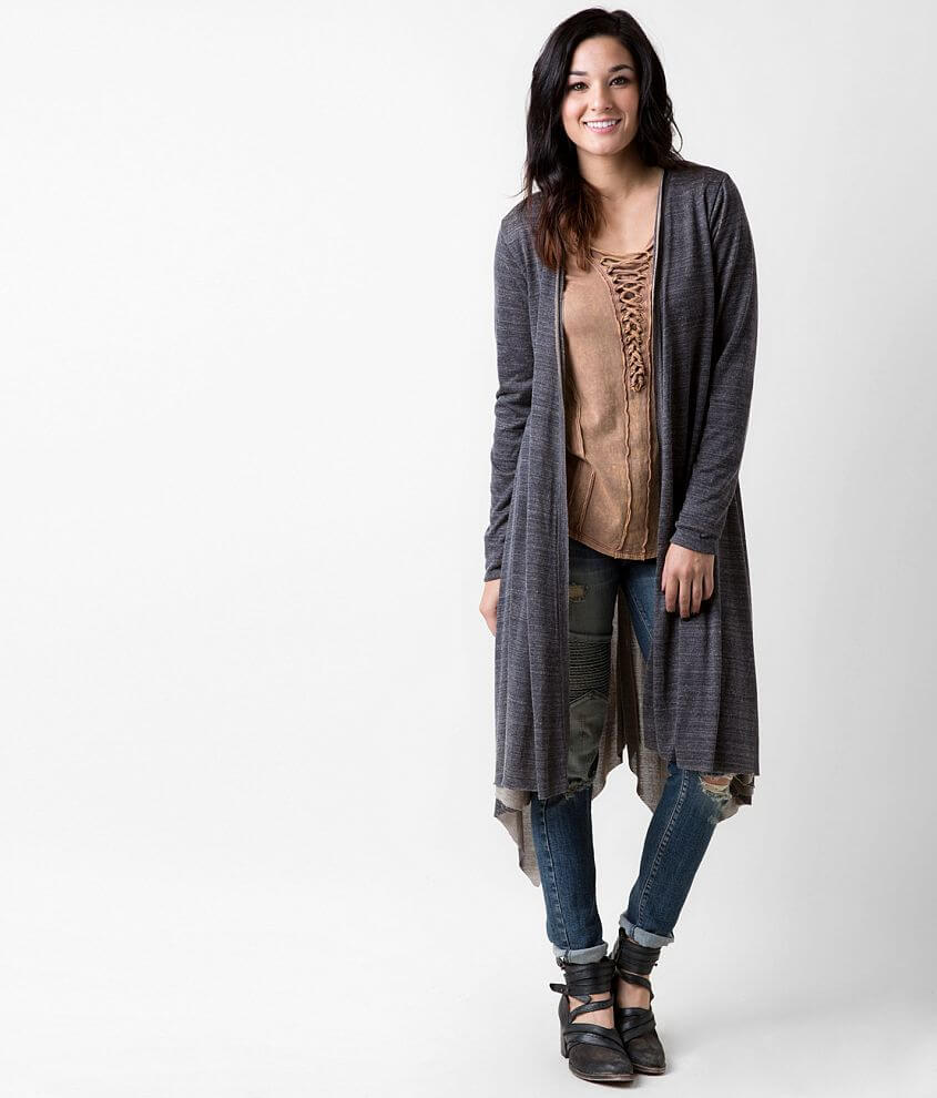 Gilded Intent Raw Edge Duster Cardigan front view