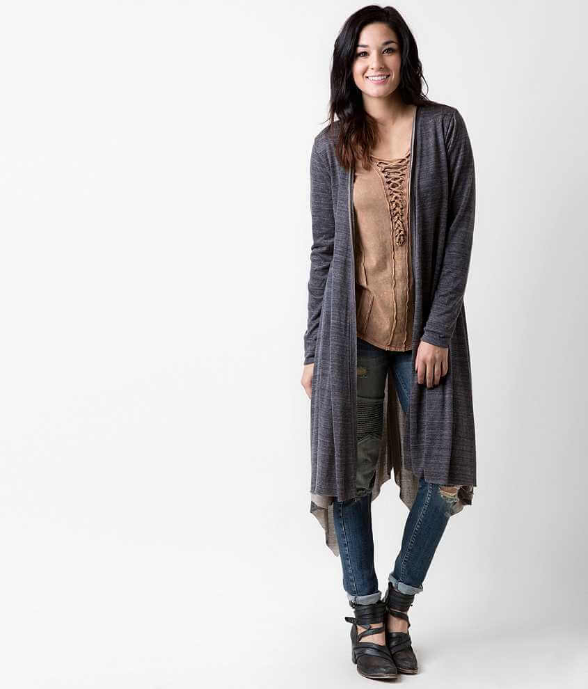 Gilded Intent Raw Edge Duster Cardigan - Women's Cardigans in Navy ...