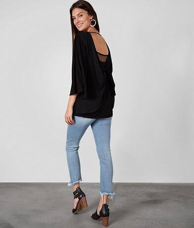 Buckle Black Deep Twisted Back Top