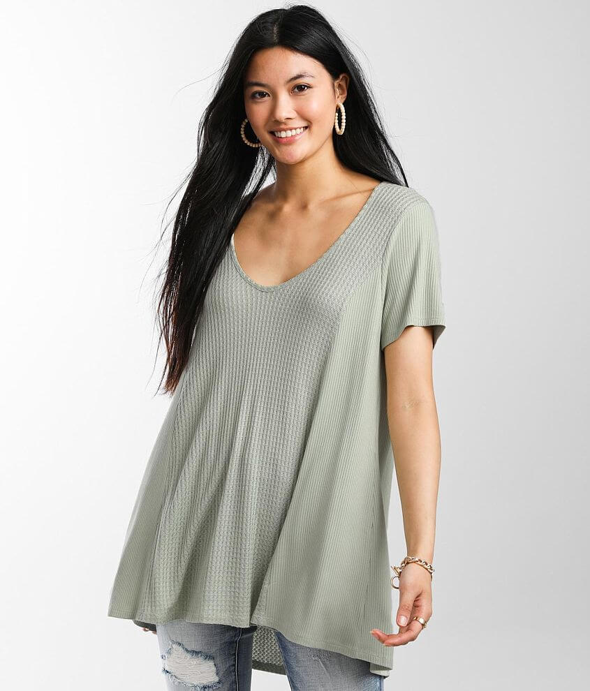 BKE Waffle Knit Tunic Top front view