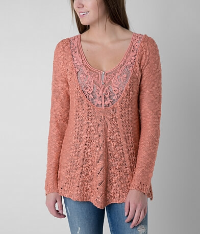 Solitaire Open Weave Henley Sweater