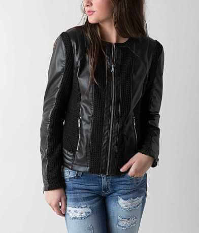 Blanc Noir Faux Leather Jacket